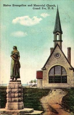 <i>Statue Evangeline and Memorial Church, Grand Pre, N.S.<i> image. Click for full size.