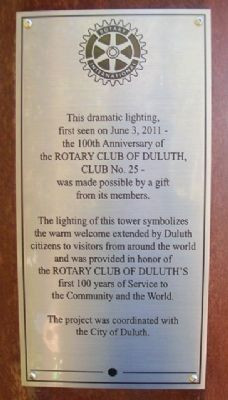 Rotary Club of Duluth 100th Anniversary Marker image. Click for full size.