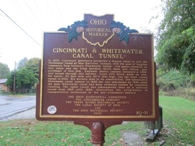 William Henry Harrison and the Cincinnati & Whitewater Canal Marker image. Click for full size.