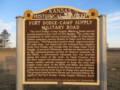 Fort Dodge - Camp Supply Military Road Marker image. Click for full size.