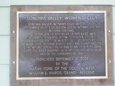 Sonoma Valley Women�s Club Marker image. Click for full size.