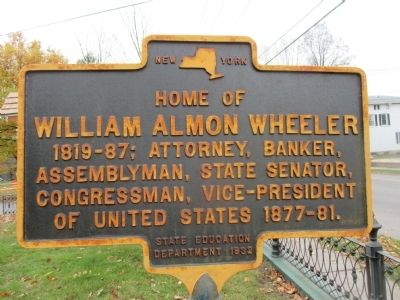 Home of William Almon Wheeler Marker image. Click for full size.