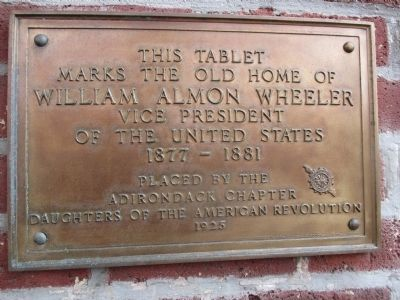 Old Home of William Almon Wheeler D.A.R. Marker on Front of House image. Click for full size.