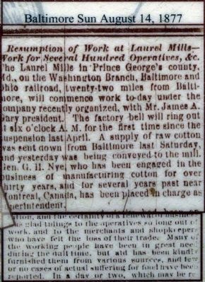 Baltimore Sun August 14, 1877 image. Click for full size.