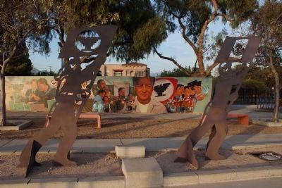 C�sar Ch�vez Memorial - Arise! Steel Sculpture and Mural Panels 3 image. Click for full size.