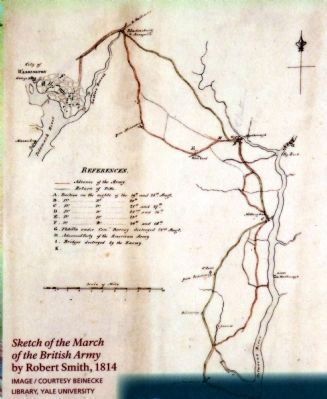 Sketch of the March of the British Army<BR by Robert Smith, 1814 image. Click for full size.