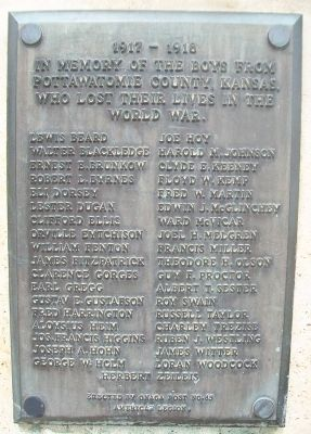 War Memorial WWI Honor Roll image. Click for full size.