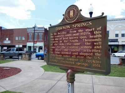 Dawson Springs Marker (<i>wide view</i>) image. Click for full size.