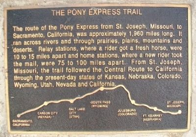 The Pony Express Trail Marker image. Click for full size.