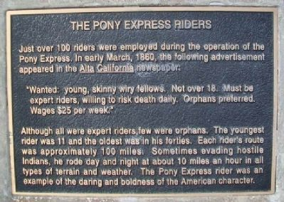 The Pony Express Riders Marker image. Click for full size.