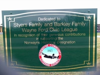Norwayne Subdivision Dedication Sign image. Click for full size.
