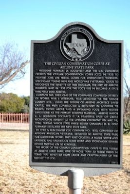 The Civilian Conservation Corps at Abilene State Park Marker image. Click for full size.