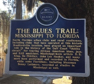 The Blues Trail: Mississippi to Florida Marker (Front) image. Click for full size.