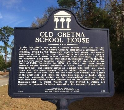 Old Gretna School House Marker image. Click for full size.