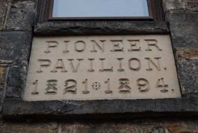 Pioneer Pavilion Date Stone image. Click for full size.