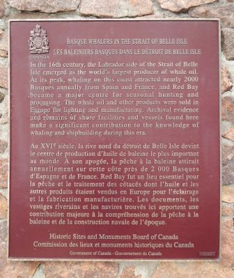 Basque Whalers in the Strait of Belle Isle Marker image. Click for full size.