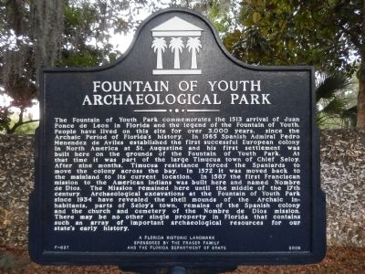 Fountain of Youth Archaeological Park Marker image. Click for full size.