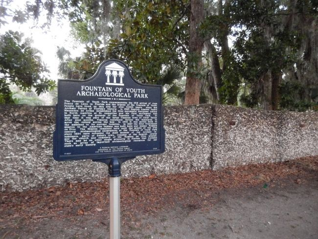 Fountain of Youth Archaeological Park Marker (<i>wide view</i>) image. Click for full size.