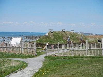 Reconstructed Viking settlement image. Click for full size.