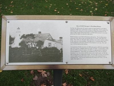 Site of 1825 Keeper's Dwelling House Marker image. Click for full size.