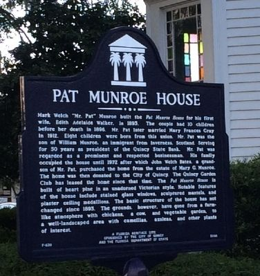 Pat Munroe House Marker image. Click for full size.