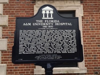 The Florida A&M University Hospital (1911-1971) Marker image. Click for full size.