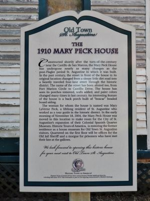 The 1910 Mary Peck House Marker image. Click for full size.