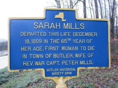 Sarah Mills Marker image. Click for full size.