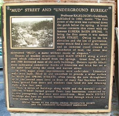 """Mud"" Street and ""Underground Eureka"" Marker image. Click for full size."