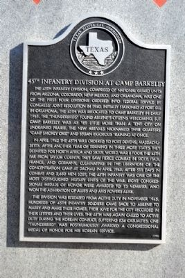 45th Infantry Division at Camp Barkeley Marker image. Click for full size.