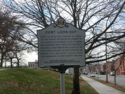 Fort Look-Out marker at the entrance to the Park Pavilion image. Click for full size.