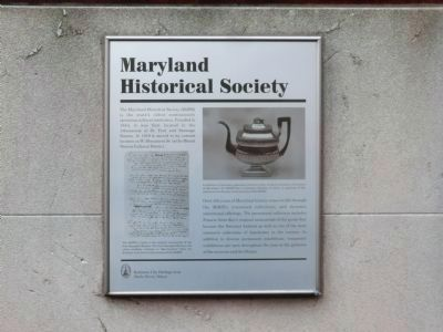 Maryland Historical Society Marker located on the corner of the building image. Click for full size.