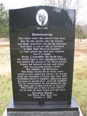 Gordon Parks Homecoming Monument [Side A] image. Click for full size.