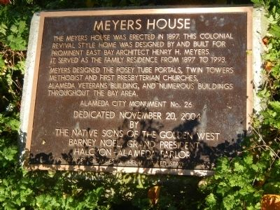 Meyers House Marker image. Click for full size.