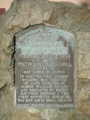 Alameda�s First Church Marker image. Click for full size.