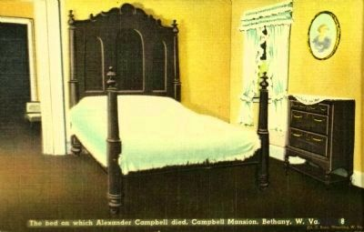 <i>The bed on which Alexander Campbell died, Campbell Mansion, Bethany, W. Va.</i> image. Click for full size.