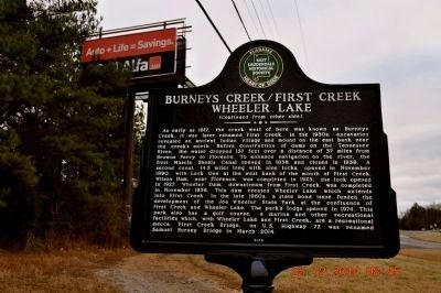 Burneys Creek/First Creek Wheeler Lake marker image. Click for full size.