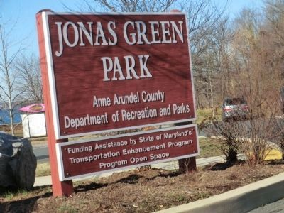 Sign at the entrance to Jonas Green Park image. Click for full size.