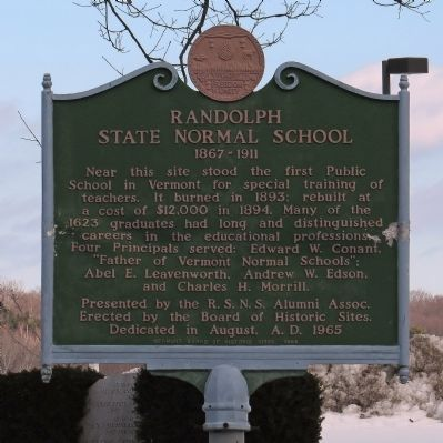 Randolph state normal school historical marker for Randolph and associates