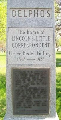 Grace Bedell Billings: Lincoln's Little Correspondent Monument image. Click for full size.