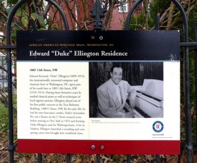 "Edward ""Duke"" Ellington Residence Marker image. Click for full size."