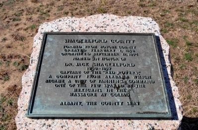 Shackelford County Marker Inscription image. Click for full size.