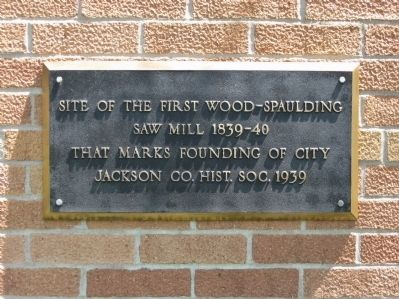 Site of the First Wood-Spaulding Saw Mill Marker image. Click for full size.