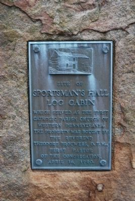 Site of Sportsman's Hall Log Cabin Marker image. Click for full size.