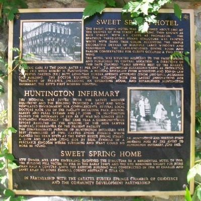 Sweet Spring Hotel - Huntington Infirmary - Sweet Spring Home Marker image. Click for full size.
