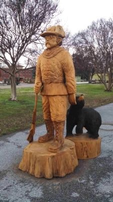 Wood Carvings of Teddy Roosevelt & Bear on Display in Rolling Fork image. Click for full size.