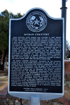 Moran Cemetery Marker image. Click for full size.