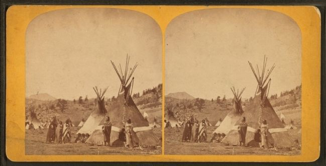 Fort Stambaugh, Wyoming near Sweetwater River, 1870; Shoshoni Chief Washakie's camp image. Click for full size.