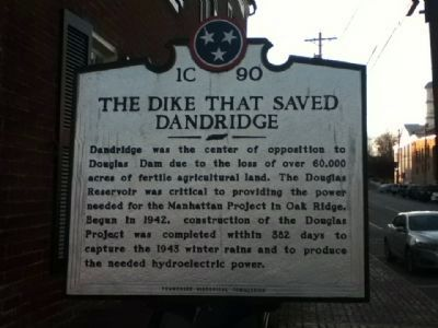 The Dike That Saved Dandridge Marker (side 2) image. Click for full size.