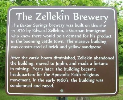 The Zellekin Brewery Marker image. Click for full size.